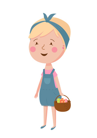 Cute vector illustration of beautiful girl with basket. Trendy illustration young girl for different design.