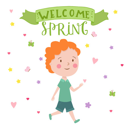 Cute vector illustration of young boy. Trendy illustration young boy for different design. Lettering sing - Welcome Spring. Çizim