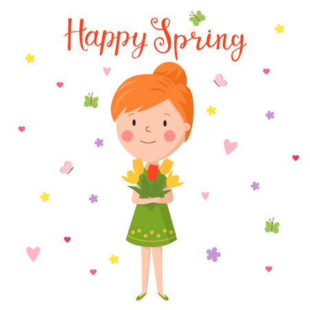 Cute vector illustration of beautiful girl with tulips. Trendy illustration young girl for different design. Lettering sing - Happy Spring.