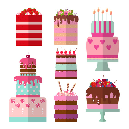 Collection of vector flat illustration of cake. Set of holiday icons cake. Cake for Happy birthday, party decoration or design menu Çizim