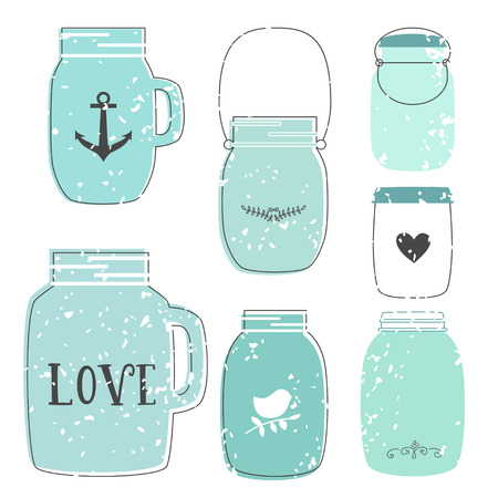 Set of glass jar. Vector illustration. Jar in retro style. Element for design invitation, wedding card, party Çizim