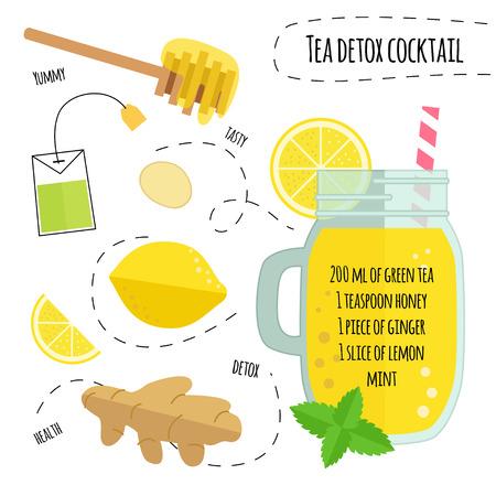 Recept detox cocktail met groene thee, citroen, gember. Vector illustratie voor wenskaarten, tijdschriften, een café en restaurant menu. Verse smoothies voor gezond leven, voeding.