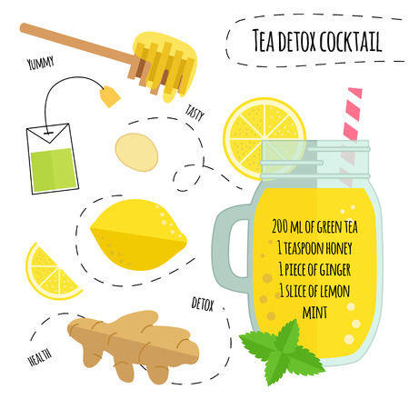 Recipe detox cocktail with green tea, lemon, ginger. Vector illustration for greeting cards, magazine, cafe and restaurant menu. Fresh smoothies for healthy life, diets. Ilustração