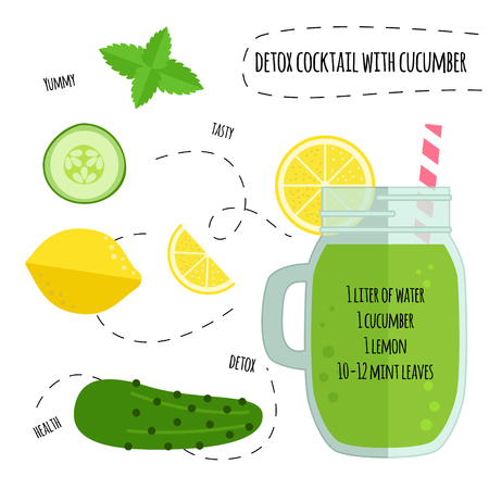 lemon: Recipe detox cocktail with lemon, cucumber, mint. Vector illustration for greeting cards, magazine, cafe and restaurant menu. Fresh smoothies for healthy life, diets.