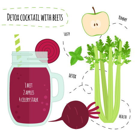 Recipe detox cocktail with beets, celery, apple. Vector illustration for greeting cards, magazine, cafe and restaurant menu. Fresh smoothies for healthy life, diets.