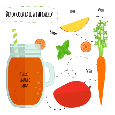 Recipe detox cocktail with carrots, mango. Vector illustration for greeting cards, magazine, cafe and restaurant menu. Fresh smoothies for healthy life, diets.