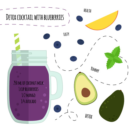 Recipe detox cocktail with blueberry and avocado. Vector illustration for greeting cards, magazine, cafe and restaurant menu. Fresh smoothies for healthy life, diets.