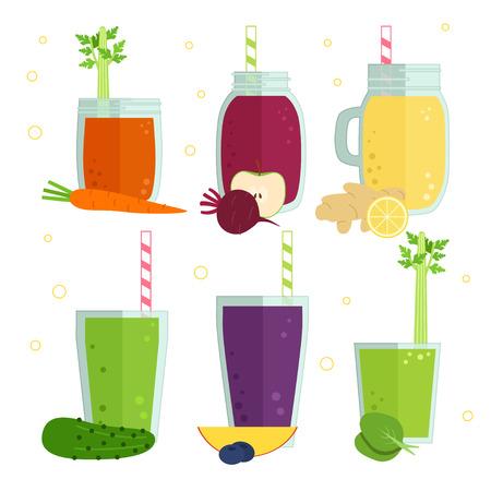Set of vector illustration of detox fruit and vegetables cocktails, smoothies. Tasty set for design menu of cafe or restaurant. Fresh juice for healthy life, diets.