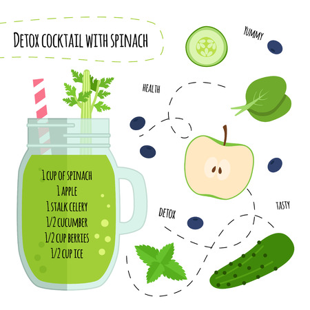 Recipe detox cocktail with with spinach, cucumber, apple, berries, celery. Vector illustration for greeting cards, magazine, cafe and restaurant menu. Fresh smoothies for healthy life, diets.