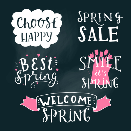 Cute, trendy hand drawn quotes and phrases on chalk board. Lettering sing - welcome spring, spring sale, best spring, smile it is spring, choose happy. Cute vector card