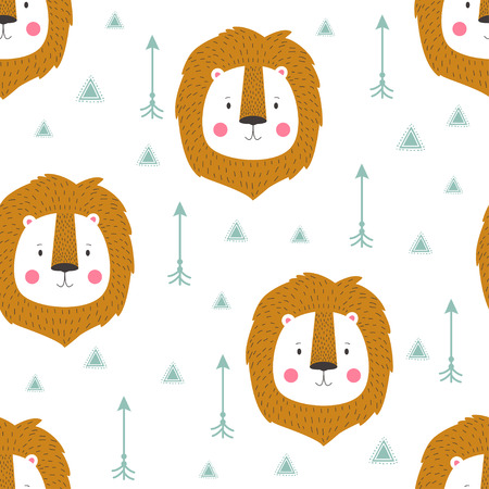 Beautiful indian seamless pattern of lion in vector for childrens. Cute cartoon background. Vector design for fabric and decor children room or clothes