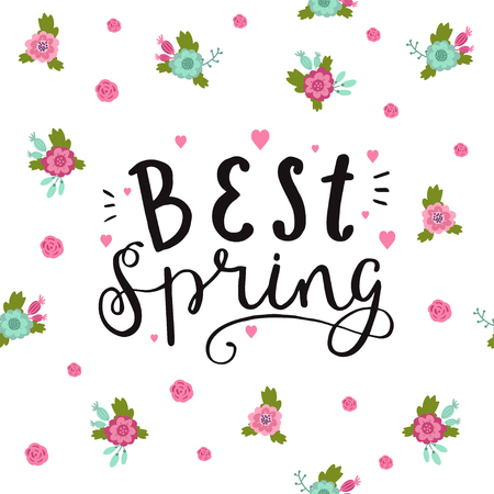 Best spring. Cute, trendy hand drawn quote. Vector floral pattern in doodle style with flowers and leaves. Çizim