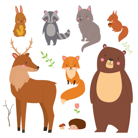 Set of cute illustration of  woodland animals isolated on white background. Animals for design posters, card, postcard, wallpaper in children room or fabric