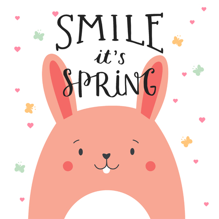 smilling: Cute illustration of rabbit with lettering. Smile, it is spring. Poster for childrens room, card