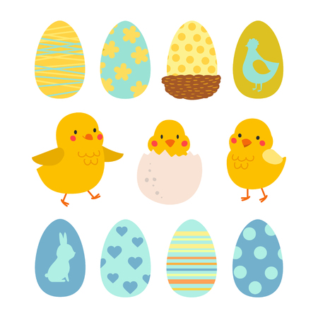 Happy Easter design elements set with cute chicks and eggs. Illustration for design card of the Easter, scrapbook or party. Eggs with ornaments. Set of vector illustration of chicken. Isolated Illustration