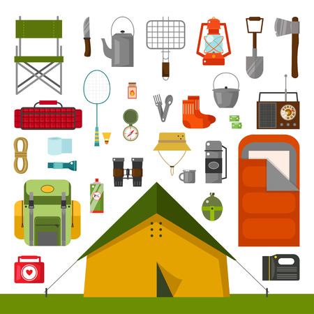Vector set of camping accessories. Tent, sleeping bag, knife, socks, chair , mug, batteries, badminton, grill for BBQ,. Camping flat cartoon style vector illustration. Equipment for camping Çizim