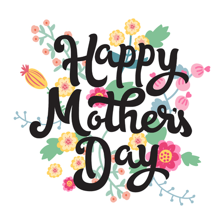 Happy Mothers Day. Vector illustration greeting card with flowers. Card for Mothers day. Çizim