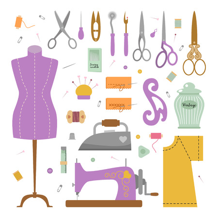 awl: Set of vector illustration  tools for sewing in a retro flat cartoon style. Sewing machine, needle, thread, thimble, dummy, iron, scissors, awl, tracing wheel, french curve, cutting, chalk, safety pin