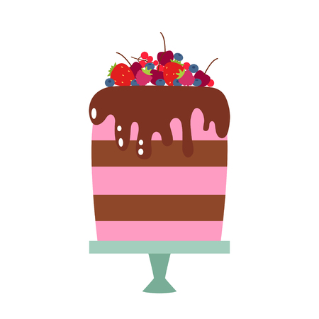 Vector flat icon illustration of cake. Cake for Happy birthday, party decoration or design menu with decoration of strawberry, cherry, blueberry and chocolate icing