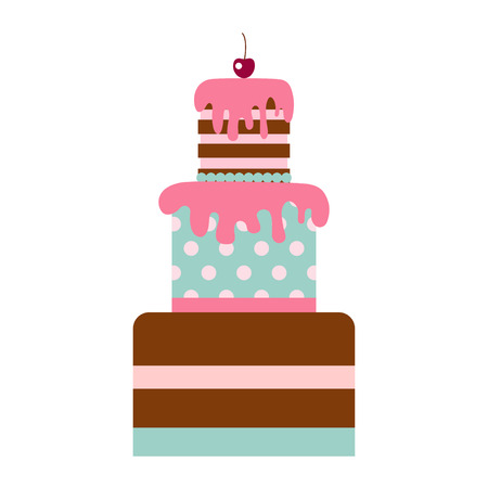 Vector flat icon illustration of cake. Cake for Happy birthday, party decoration or design menu with decoration of cherry and chocolate icing