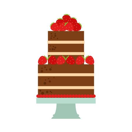 Vector flat icon illustration of cake. Cake for Happy birthday, party decoration or design menu with decoration of strawberry