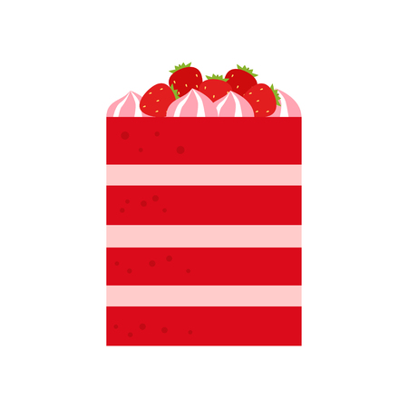 Vector flat icon illustration of cake. Cake for Happy birthday, party decoration or design menu with decoration of strawberry and marshmallow