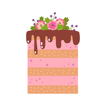 Vector flat icon illustration of cake. Cake for Happy birthday, party decoration or design menu with decoration of flowers and chocolate icing