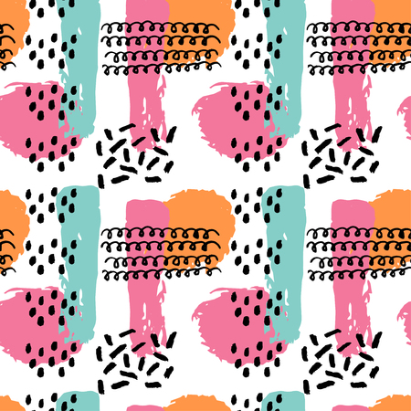 Memphis abstract seamless pattern background in retro vintage 80s or 90s style. Pop pattern for textile fabric design, party design. Vector illustration. Çizim