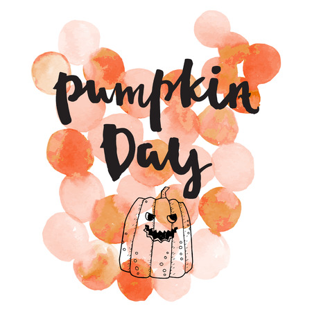 Pumpkin day. Halloween lettering quotes. Hand drawing ink vector art, modern brush calligraphy poster with watercolor stain