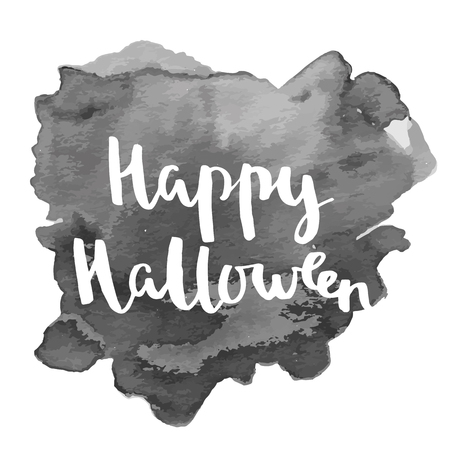 Happy Halloween lettering quotes. Hand drawing ink vector art, modern brush calligraphy poster with watercolor stain Çizim
