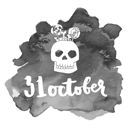 31 october. Halloween lettering quotes. Hand drawing ink vector art, modern brush calligraphy poster with watercolor stain