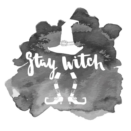 Stay witch. Halloween lettering quotes. Hand drawing ink vector art, modern brush calligraphy poster with watercolor stain Çizim