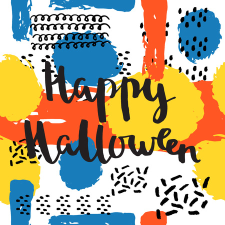 Happy Halloween lettering quotes. Hand drawing ink vector art, modern brush calligraphy poster in retro 80s, 90s memphis style Çizim