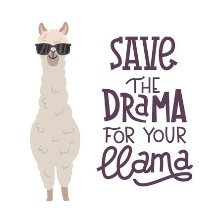 Lama lettering poster Illustration