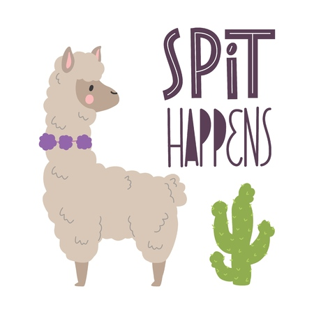 Cute llamas alpaca with cactus hand drawn cartoon poster with lettering quote. Vector Illustration design for cards, posters, t-shirts, invitations, baby shower, birthday, room decor. Spit happens