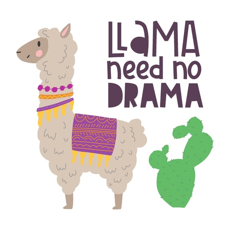 Cute alpaca with cactus hand drawn cartoon poster with lettering quote. Vector Illustration design for cards, posters, t-shirts, invitations, baby shower, birthday, room decor. Llama need no drama Çizim