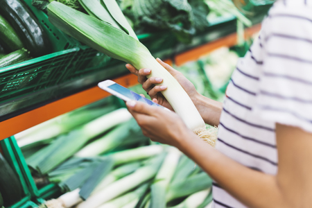 caloric: Young woman shopping healthy food in supermarket blur background. Female hands buy onion products and using smart phone in store. Hipster at grocery holding basket. Person comparing price of produce Stock Photo