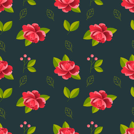Beautiful detailed peonies seamless pattern. Hand drawn blossom flowers and leaves. Colorful vintage vector illustration.