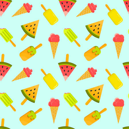 Summer protective pattern of different types of ice cream in the form of a watermelon in a cone and on a stick. Summer, rest, heat. Popsicle seamless pattern - hand drawn ice cream seamless texture.