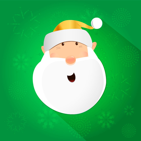 dashing: Amazed dashing Santa claus head icon isolated on green, christmas design, vector illustration graphic