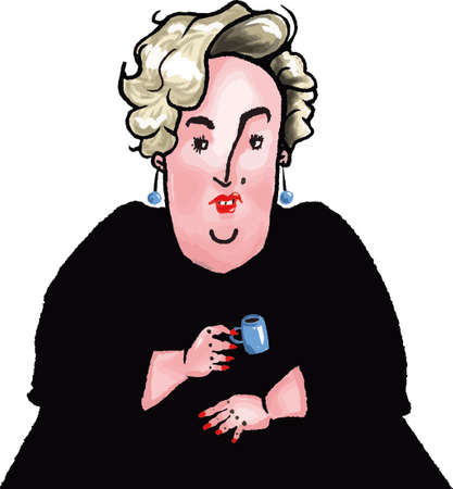 vector illustration caricature of middle aged blond arrogant woman drinking coffee