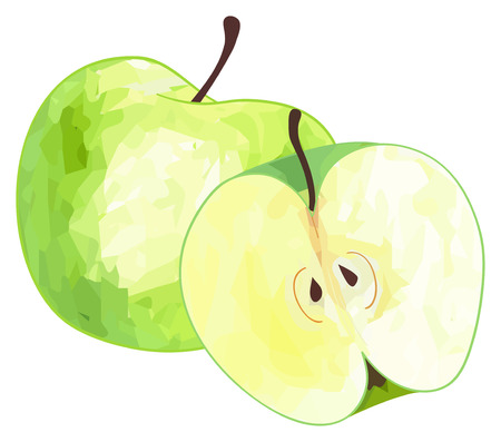 delightful: Single green apple and its half with polygonal pattern on white background in the Delightful garden collection