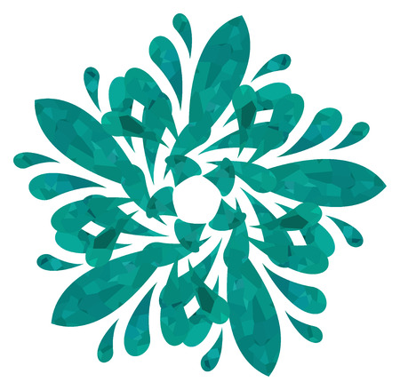 five elements: Sea-water colour abstract flower of five elements with polygonal pattern on white background in the Watercolour pattern collection Stock Photo