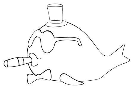 cliche: La figura de los peces abril Rich sobre fondo blanco en la colecci�n de fiesta feliz