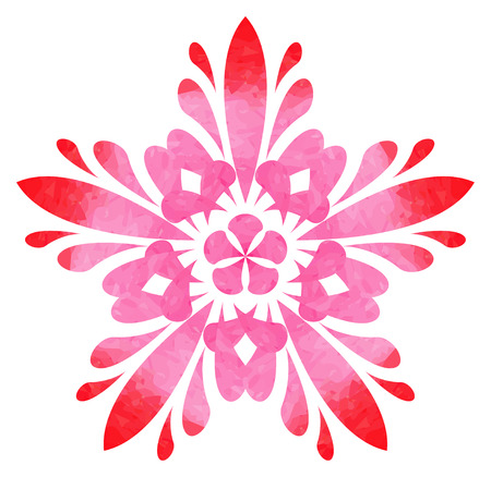 five elements: Red-rose abstract flower of five elements with polygonal pattern on white background in the Watercolour pattern collection