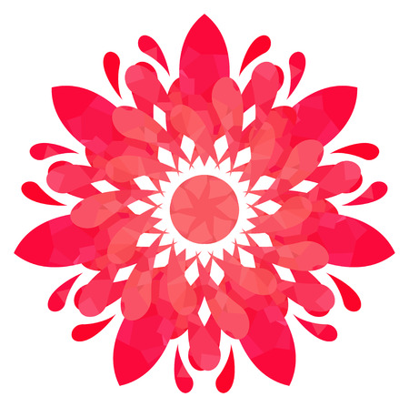 watercolour: Rose abstract flower of seven elements with polygonal pattern on white background in the Watercolour pattern collection