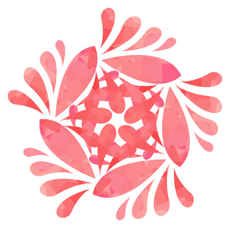 five elements: Rose abstract flower of five elements with polygonal pattern on white background in the Watercolour pattern collection Illustration