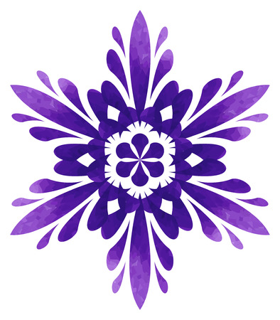 watercolour: Violet abstract flower of six elements with polygonal pattern on white background in the Watercolour pattern collection