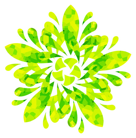 watercolour: Yellow-green abstract flower of five elements with polygonal pattern on white background in the Watercolour pattern collection Illustration