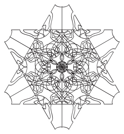 tracery: Six-sided abstract floral tracery pattern on white in the Tracery pattern collection